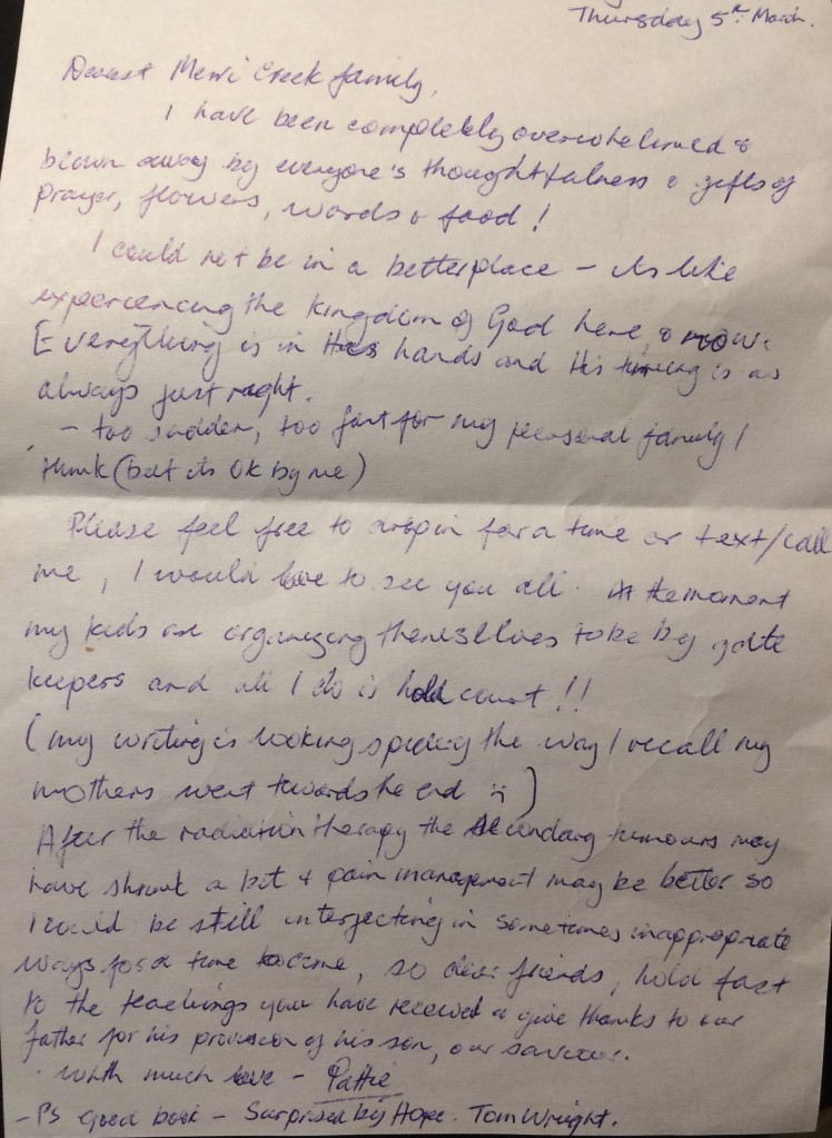 A letter Mum wrote to her church when she knew she was dying