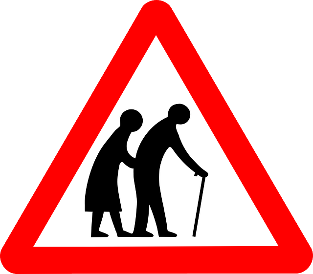 Old people crossing sign