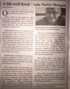 Article from the Flemington Kensington News titled 'A life well lived - vale Pattie Morgan'. Written by Meg Dunley.